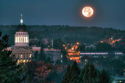 Digital Art - Capitol Moonset by Patrick Groleau