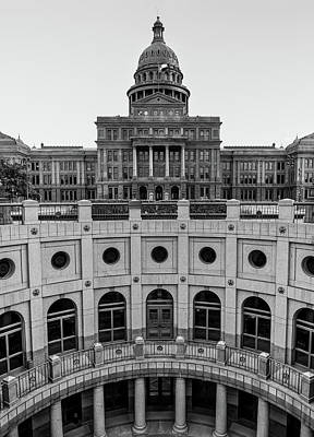 Photograph - Capitol Of The Lone Star State - Black And White - Austin Texas by Gregory Ballos