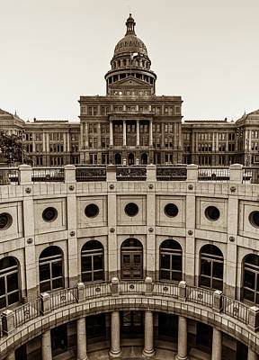 Photograph - Capitol Of The Lone Star State - Sepia - Austin Texas by Gregory Ballos