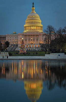 Photograph - Capitol Reflection At Christmas by Cindy Hartman