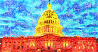 Patriotism Digital Art - Capitol  - Watercolor -  - Da by Leonardo Digenio