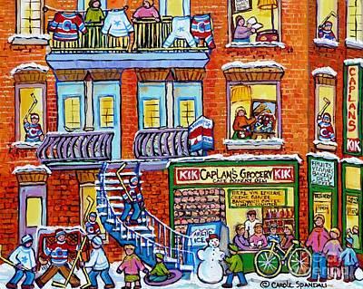 Painting - Caplan Corner Grocery Store Montreal Memories Street Hockey Art Winter Staircase Scene C Spandau by Carole Spandau