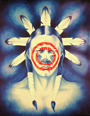 Native Portraits Painting - Cap'n Native America by Robert Martinez