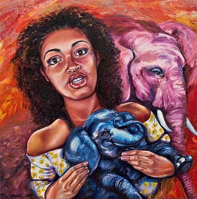 Painting - Capri And Elephants by Yelena Rubin