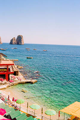 Capri Beach Umbrellas Art Print