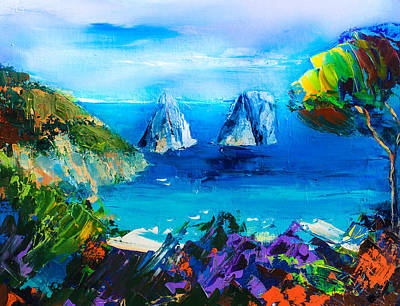 Landmarks Painting Royalty Free Images - Capri Colors Royalty-Free Image by Elise Palmigiani