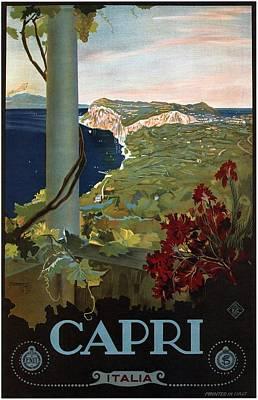 Mixed Media - Capri, Italia - Bay Of Naples, Italy - Retro Travel Poster - Vintage Poster by Studio Grafiikka