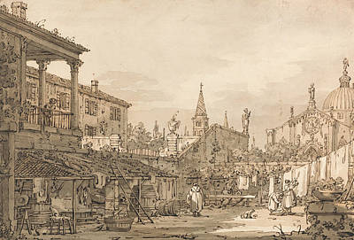 Italian Landscapes Drawing - Capriccio Of A Venetian Courtyard by Canaletto