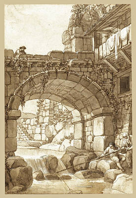 Drawing - Capriccio With A Bridge Over A River With Figures And A Fisherman by Antonio Zucchi