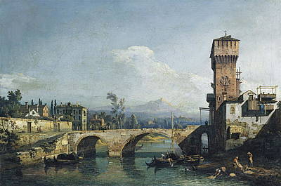 Medieval Temple Painting - Capriccio With A River And Bridge by Bernardo Bellotto