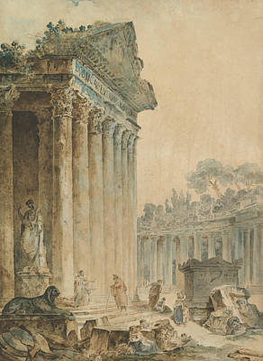 Drawing - Capriccio With An Ancient Temple by Hubert Robert