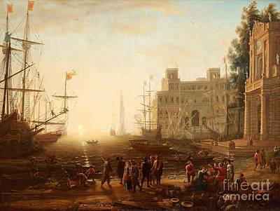 Villa Painting - Capriccio With An Harbour With Villa Medici And Figures by Celestial Images