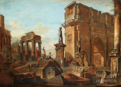 Giovanni Paolo Panini Painting - Capriccio With Figures At The Roman Ruins And The Arch Of Constantine by Celestial Images