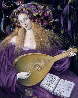 Woman Playing A Lute Painting - Capricorn by Annael Anelia Pavlova