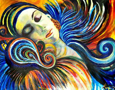 Yello Painting - Capricorn Sleeps by Jill Jacobs