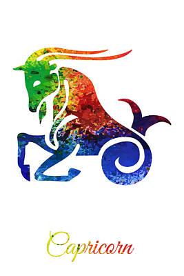 Digital Art - Capricorn The Sea Goat by PixBreak Art