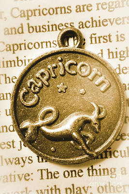 Necklace Photograph - Capricorn Zodiac Lucky Charm by Jorgo Photography - Wall Art Gallery