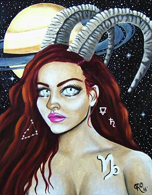 Magickal Woman Painting - Capricorn Zodiac- The Goat by Christina Marin