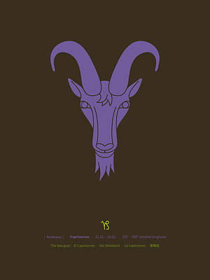 Signs Of The Zodiac Digital Art - Capricornus Zodiac Sea-goat Star Sign Poster by Thoth Adan