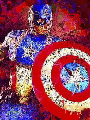 Mixed Media - Captain America by Al Matra
