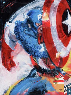 Painting - Captain America by David Leblanc