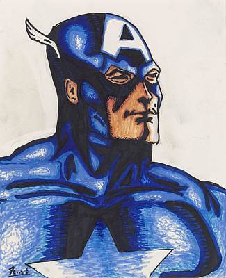 Captain America Drawing - Captain America by Davis Elliott
