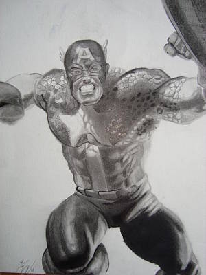Drawing - Captain America by Luis Carlos A