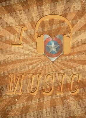 I Love America Digital Art - Captain America Lullaby Original Digital by Georgeta Blanaru