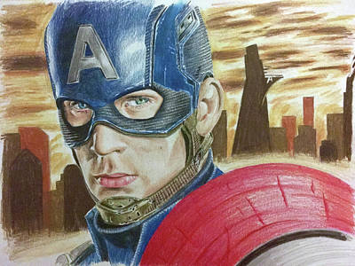 Drawing - Captain America by Michael McKenzie