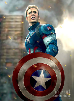 Shield Painting - Captain America - No Helmet by Paul Tagliamonte