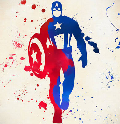 Painting - Captain America Paint Splatter by Dan Sproul