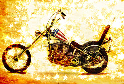 Motorcycle Wall Art - Mixed Media - Captain America by Russell Pierce