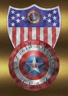 Art Print featuring the painting Captain America Shields On Gold  by Georgeta Blanaru