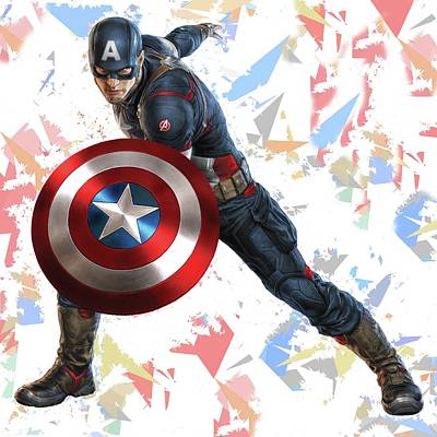 Crime Fighter Mixed Media - Captain America Splash Super Hero Series by Movie Poster Prints