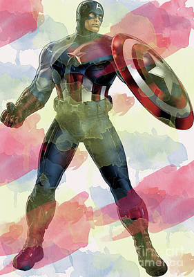 Digital Art - Captain America by Steven Parker