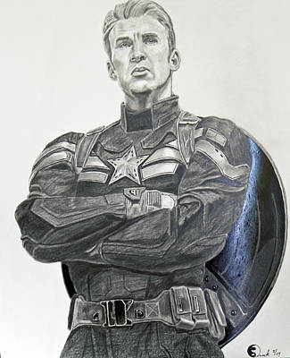 Captain America Drawing Drawing - Captain America The Winter Soldier by Robert Link