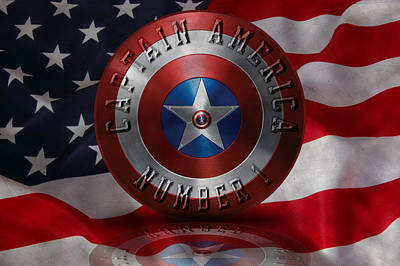 Art Print featuring the painting Captain America Typography On Captain America Shield  by Georgeta Blanaru