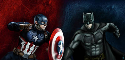 Ben Affleck Digital Art - Captain America Vs Batman by Vinny John Usuriello