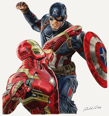 Captain America Drawing Drawing - Captain America Vs Iron Man by David Dias
