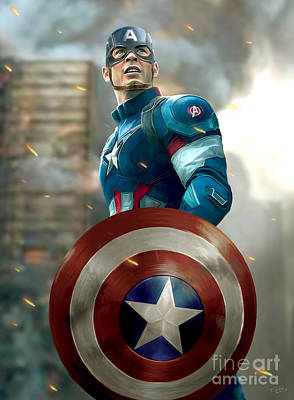 Captain America With Helmet Art Print