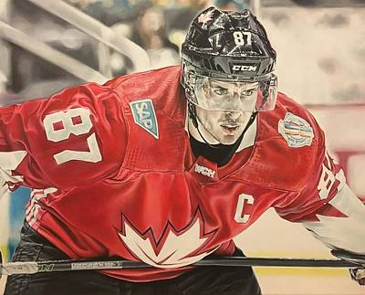 Sidney Crosby Painting - Captain Canada by Kieran Hassey