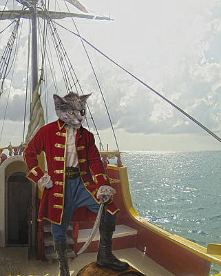 Digital Art - Captain Catnip by Rick Mosher