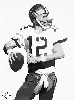 Nfl Legends Painting - Captain Comeback - Roger Staubach Bw by Kelly Hartman