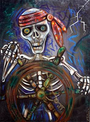 Pirate Ship Painting - Captain Death by Laura Barbosa