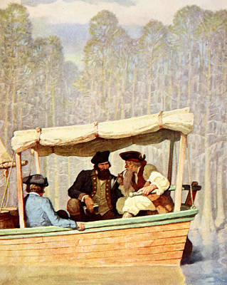 Flood Wall Art - Painting - Captain Flood At A Meeting In A Cutter by Newell Convers Wyeth