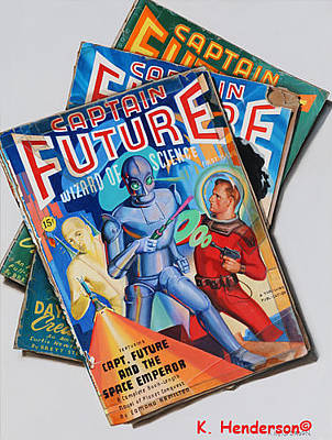 Pulp Magazines Painting - Captain Future by K Henderson