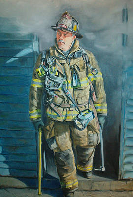 Fireman Painting - Captain Harris by Paul Walsh