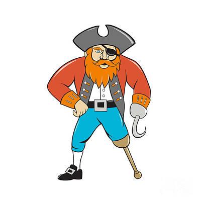 Captain Hook Digital Art - Captain Hook Pirate Wooden Leg Cartoon by Aloysius Patrimonio