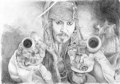Captain Jack Sparrow And The Black Pearl Art Print by Bitten Kari