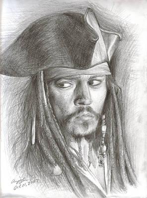 Johnny Depp Drawing - Captain Jack Sparrow by Anjie Liu